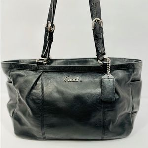 Coach East West Gallery Black Leather Tote Bag